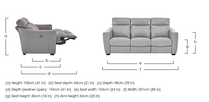 Compact Collection Midi 3 Seater Leather Recliner Sofa in  on FV