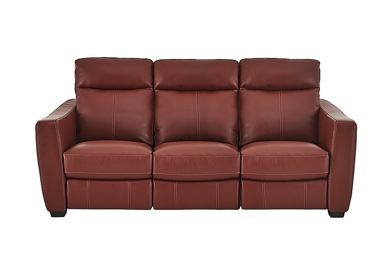 Compact Collection Midi 3 Seater Leather Recliner Sofa in Nc-854e Rustic Red on FV