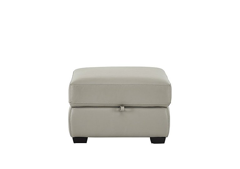Compact Collection Midi Leather Footstool in Bv-946b Silver Grey on FV