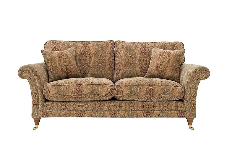 Burghley Large 2 Seater Fabric Sofa in 050026-318 Baslow Medalli Gold on FV