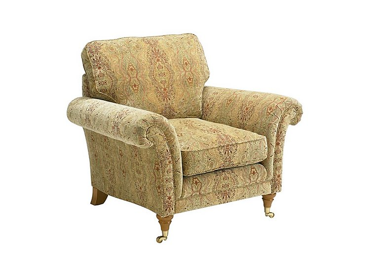 Burghley Fabric Armchair in 050026-318 Baslow Medalli Gold on FV