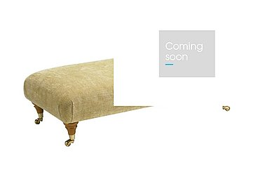 Burghley Fabric Footstool in 050027-0318 Baslow Plain Gold on FV