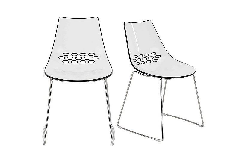 Jam Pair of Sleigh Leg Dining Chairs in White Glossy Black on Furniture Village