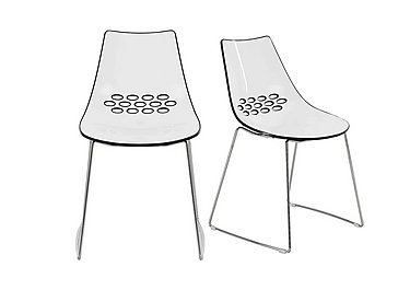 Jam Pair of Sleigh Leg Dining Chairs in White Glossy Black on FV