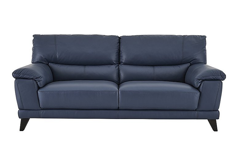 Pacific 3 seater leather sofa furniture village for Blue couches for sale