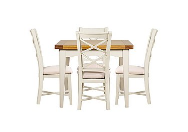 Arles Flip Top Dining Table and 4 Chairs in Off White With Cream Seat on FV