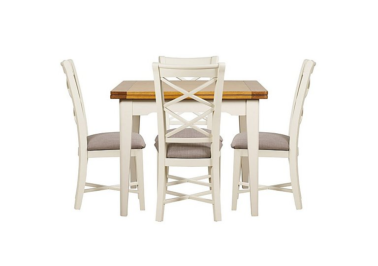 Arles Flip Top Dining Table and 4 Chairs in Off-White With Grey Seat on FV