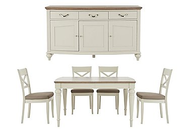 Annecy Extending Dining Table and 4 Chairs With Sideboard in Standard Colour on FV