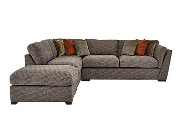 Bailey Fabric Corner Chaise Sofa with Footstool in Alfa Chestnut Dark Feet on FV