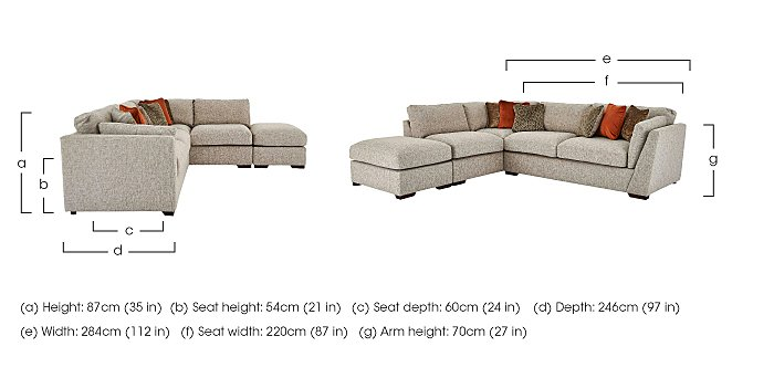 Bailey Fabric Corner Chaise Sofa with Footstool in  on FV