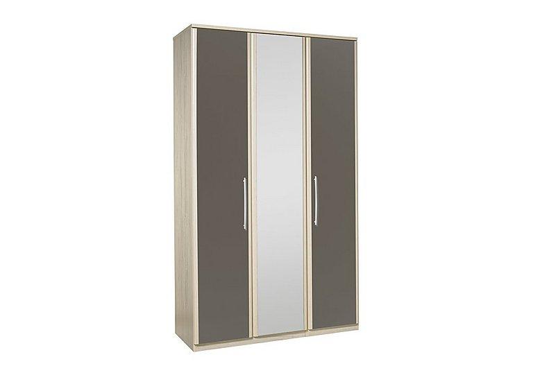 Kingsley 3 Door Centre Mirror Bi-fold Wardrobe in Atv - Tristan Grey on Furniture Village