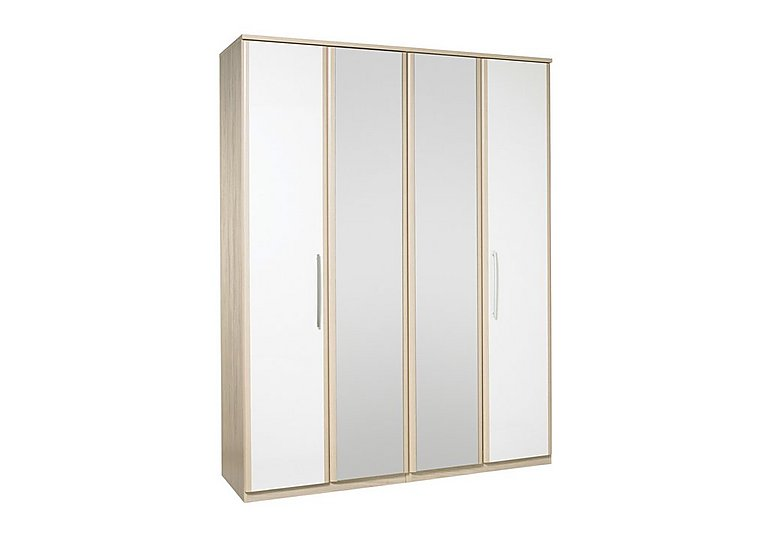 Kingsley 4 Door Centre Mirror Bi-fold Wardrobe