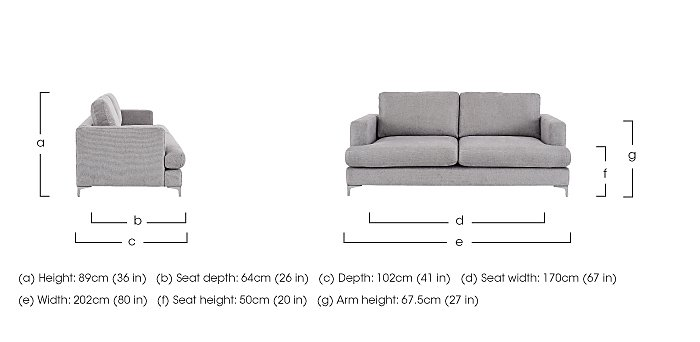 Sofia 2.5 Seater Fabric Sofa in  on FV