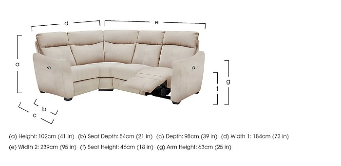 Compact Collection Midi Fabric Recliner Corner Sofa in  on FV