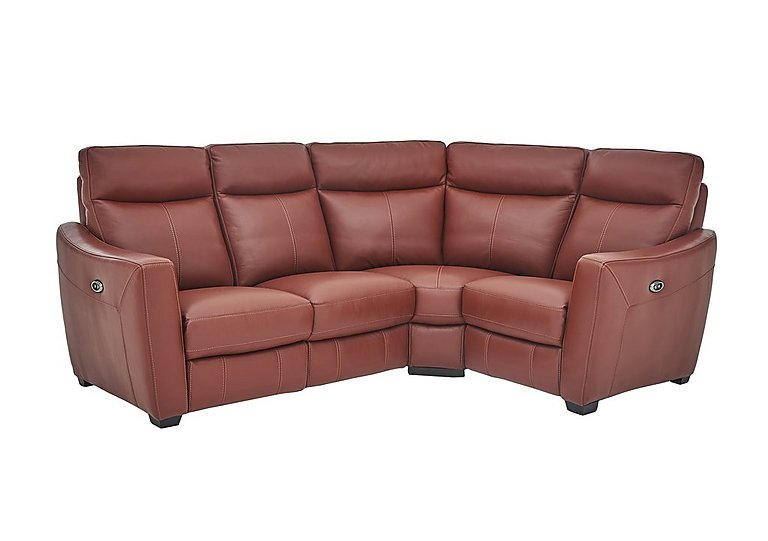 Compact Collection Midi Leather Recliner Corner Sofa in Nc-854e Rustic Red on FV