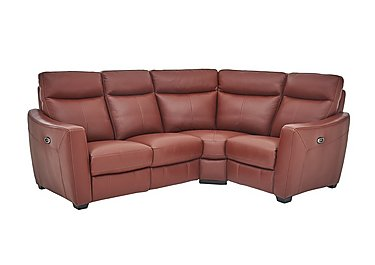 Midi Leather Recliner Corner Sofa in Nc-854e Rustic Red on FV