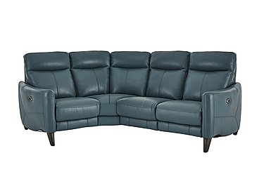 Compact Collection Petit Leather Recliner Corner Sofa in Nc-301e Lake Green on FV