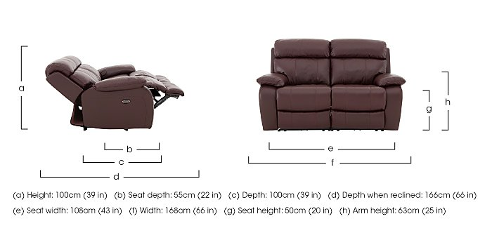 Moreno 2 Seater Leather Recliner Sofa