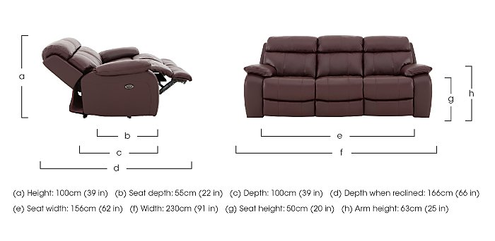 Moreno 3 Seater Leather Recliner Sofa in  on FV