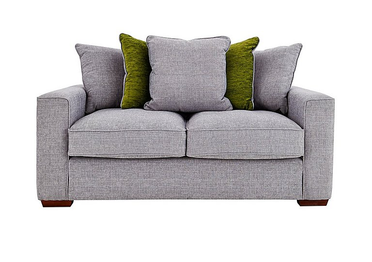 Dune 2 Seater Fabric Pillow Back Sofa in Barley Silver-Lime Dk Feet on FV