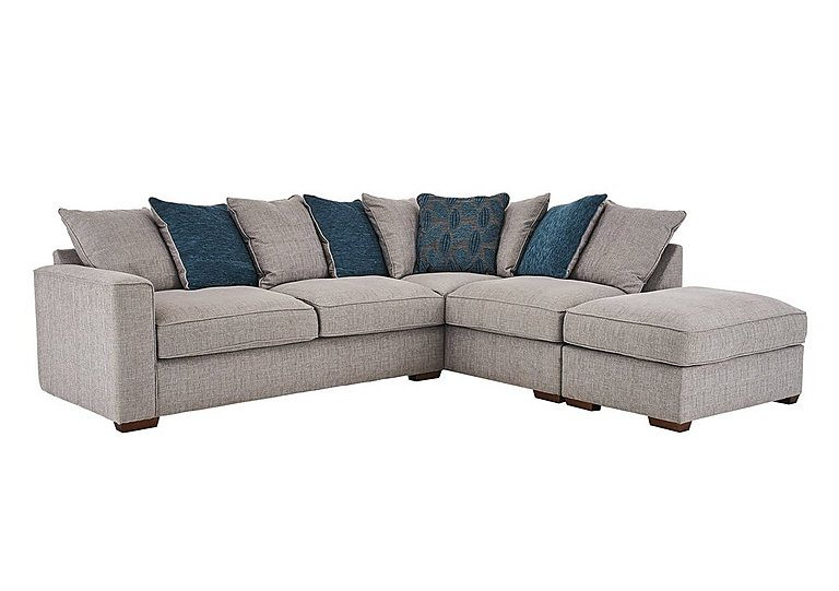 Dune Fabric Corner Pillow Back Sofa With Footstool Furniture Village