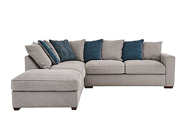 Dune Fabric Corner Pillow Back Sofa with Footstool in Barley Silver-Teal Dk Feet on FV