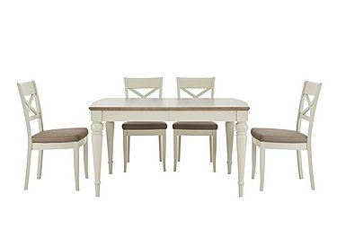 Annecy Extending Dining Table and 4 Crossback Chairs in Grey Washed Oak And Soft Grey on Furniture Village