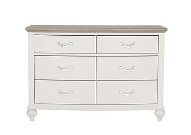 Annecy 6 Drawer Wide Chest in Soft Grey And Grey Washed Oak on FV