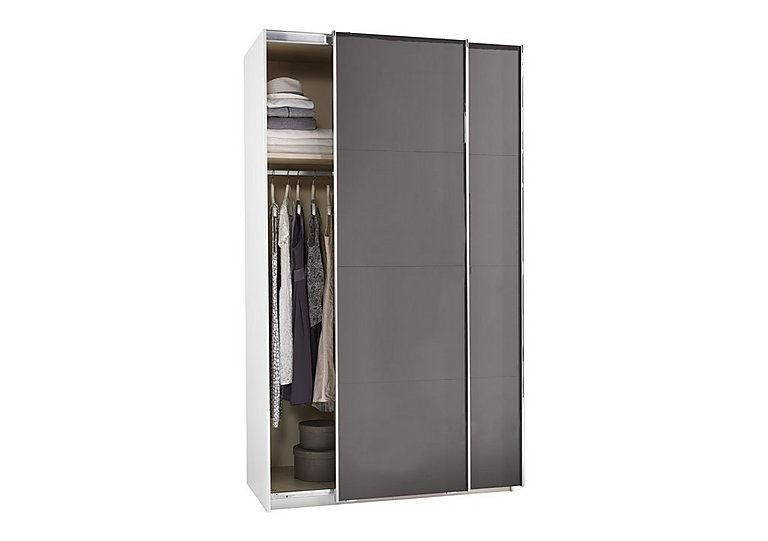 High Five Sliding Wardrobe in White/Volcanic Grey Hg 830 on FV