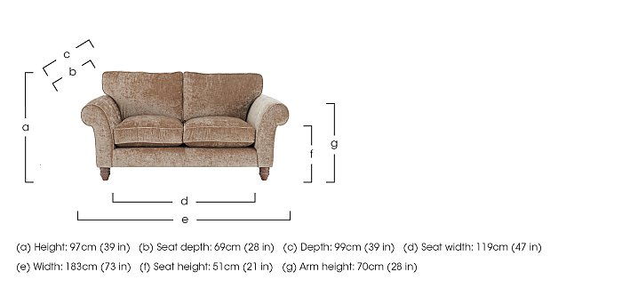 Lancaster 2 Seater Fabric Sofa in  on FV