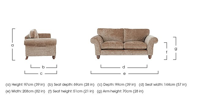 Lancaster 3 Seater Fabric Sofa in  on FV