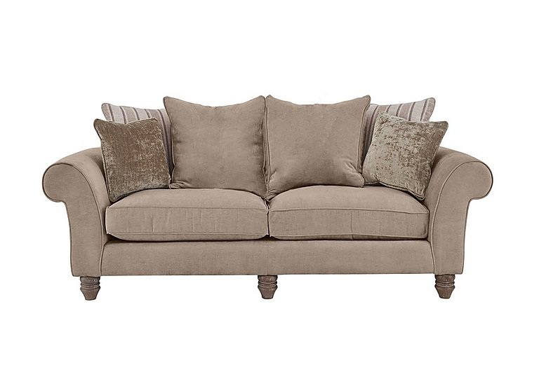 Lancaster 3 Seater Fabric Pillow Back Sofa in Sherlock Plain Mink Dk Ft on Furniture Village
