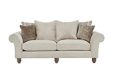 Lancaster 3 Seater Fabric Sofa in Sherlock Plain Pearl Dk Ft on FV