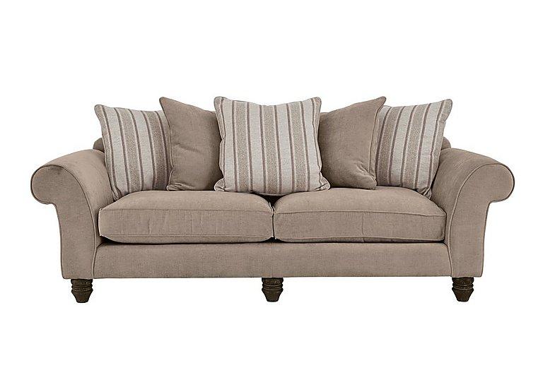 Lancaster 4 Seater Fabric Sofa in Sherlock Plain Mink Dk Ft on FV