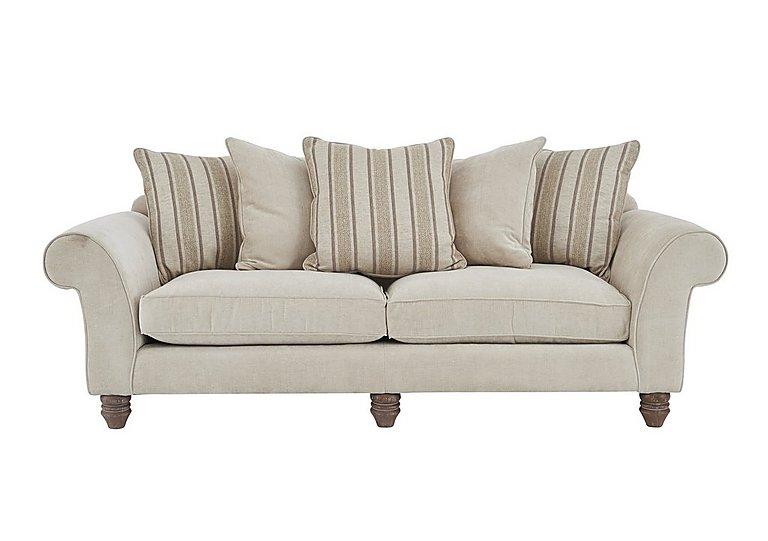 Lancaster 4 Seater Fabric Sofa in Sherlock Plain Pearl Dk Ft on FV