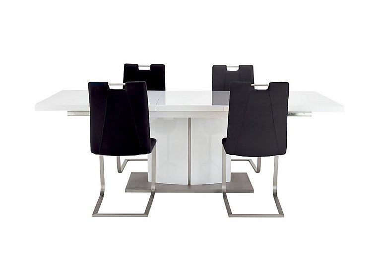 Grande White Extending Table and 4 Chairs