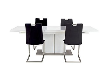 Grande White Extending Table and 4 Chairs in Black on FV