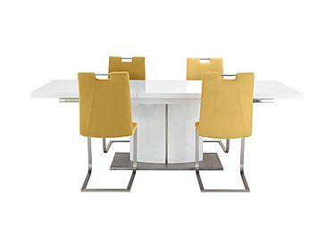 Grande White Extending Table and 4 Chairs in Mustard on FV