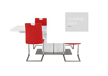Grande White Extending Table and 4 Chairs in Scarlet on FV