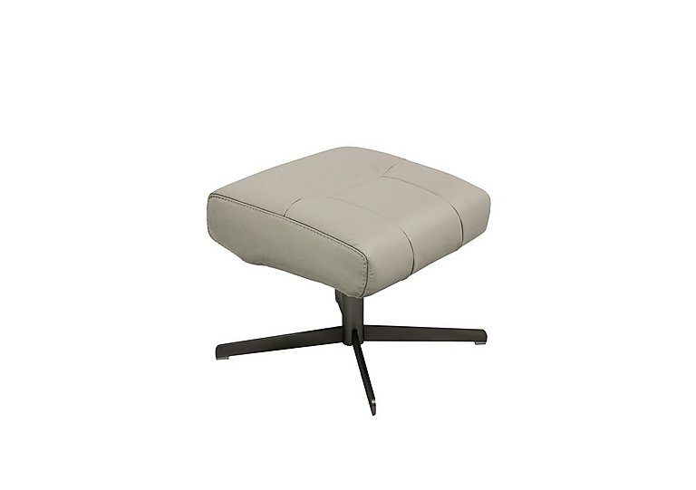 Shades Leather Swivel Footstool in Bv-946b Silver Grey on Furniture Village