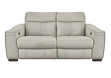 Cressida 3 Seater Leather Recliner Sofa in Bv-946b Silver Grey on FV