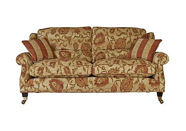 Henley Large 2 Seater Fabric Sofa in 338-54 Cuba Stripe Sand Claret on FV