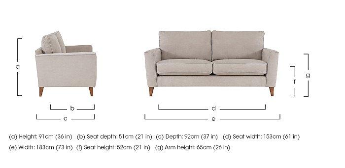 Copenhagen 3 Seater Fabric Sofa in  on FV