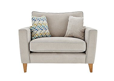 Copenhagen Fabric Snuggler Armchair in Graceland Silver Light Ft Col2 on FV