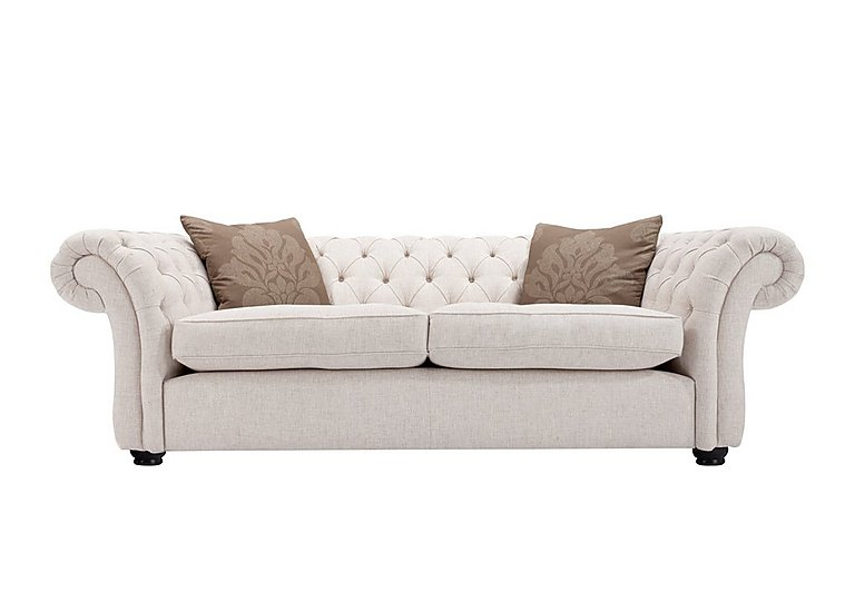 Langham Place 2 Seater Fabric Sofa in Layton Ivory  Dark Feet Col 1 on FV