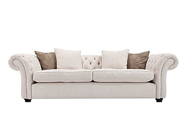 Langham Place 3 Seater Fabric Sofa in Layton Ivory  Dark Feet Col 1 on FV