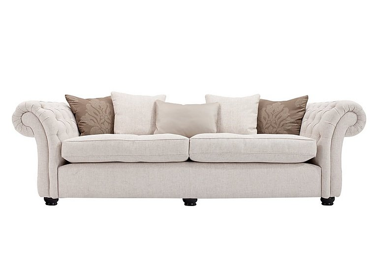 Langham Place 4 Seater Fabric Sofa in Layton Ivory  Dark Feet Col 1 on FV