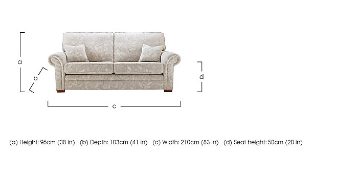 Jasmine 3 Seater Fabric Sofa in  on FV