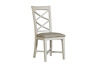 Arles Painted Dining Chair in Off-White With Script Seat on FV