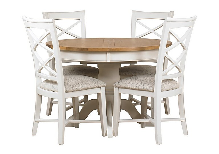 Arles Round Extending Dining Table with 4 Chairs Furniture Village